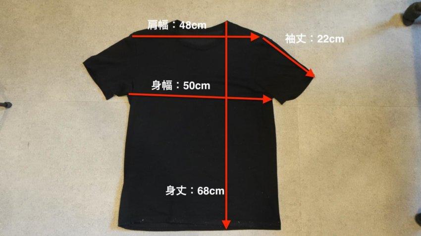 ユニクロのTシャツ(Lサイズ)の寸法